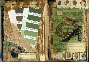 Collage in green: Altered Things, Art Journals, Altered Books, Nature Journaling, Smash Books, Art Illustration