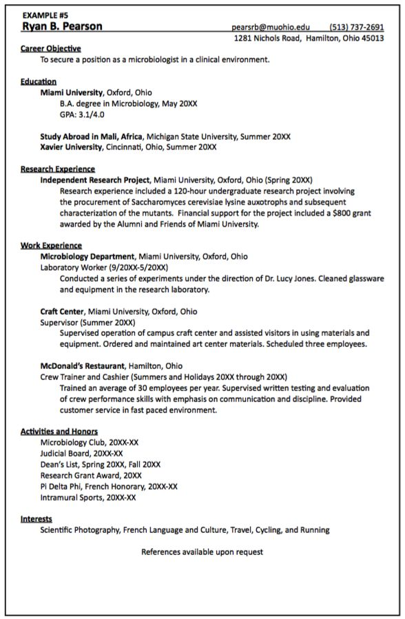 professional resume examples for graduate school