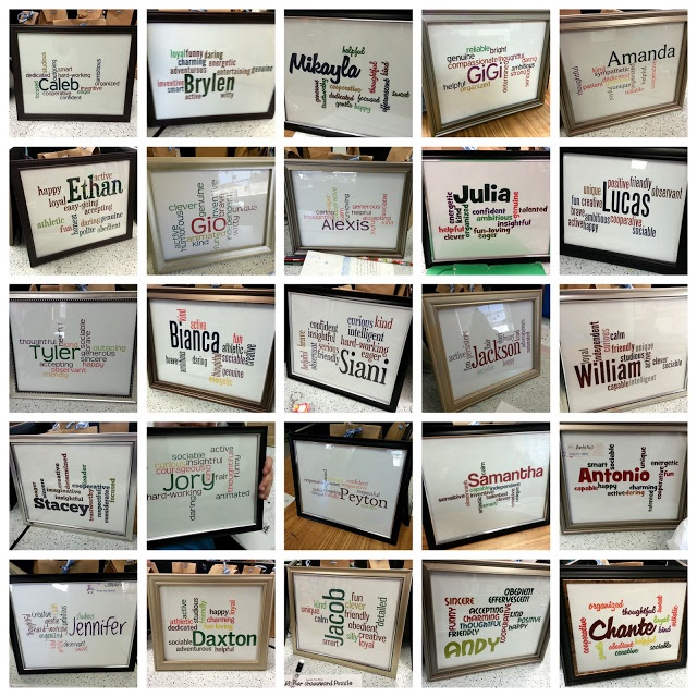Framed Wordles for your students with their Name and adjectives describing them :)