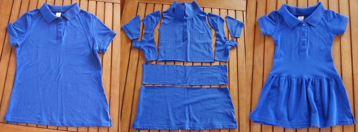 Polo Shirt to Girl Dress - tutorial step by step - I plan to combine this with another pin that shows how to make a dress from a polo shirt-- first I'll use this to cut a polo down to make sleeves/bodice and then add skirt of contrasting fabric.