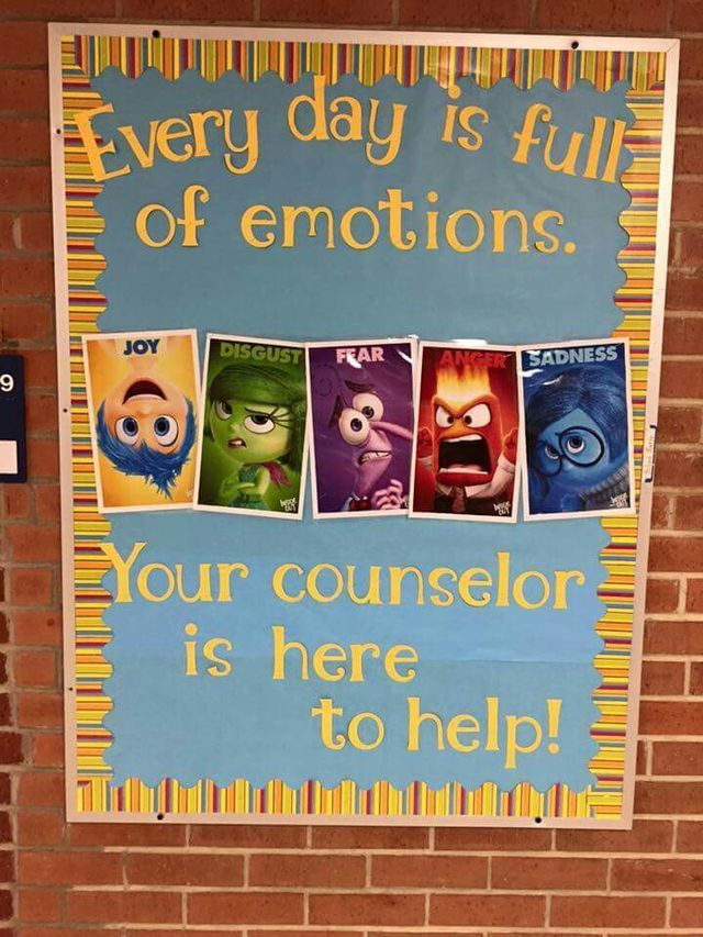 Inside out bulletin board for school counselors
