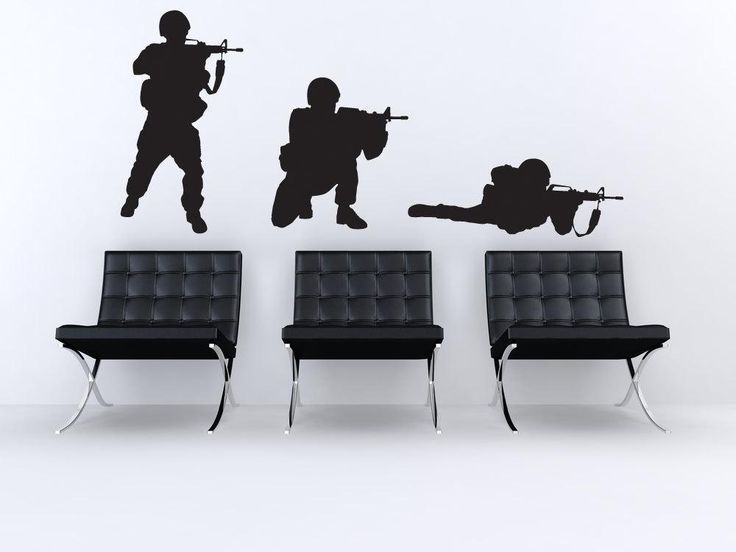 [Visit to Buy] Three Cool American Soldiers Snipers Silhouette Art Wall Decals Home Military Series Cool Army Vinyl Wall Stickers WM188 #Advertisement