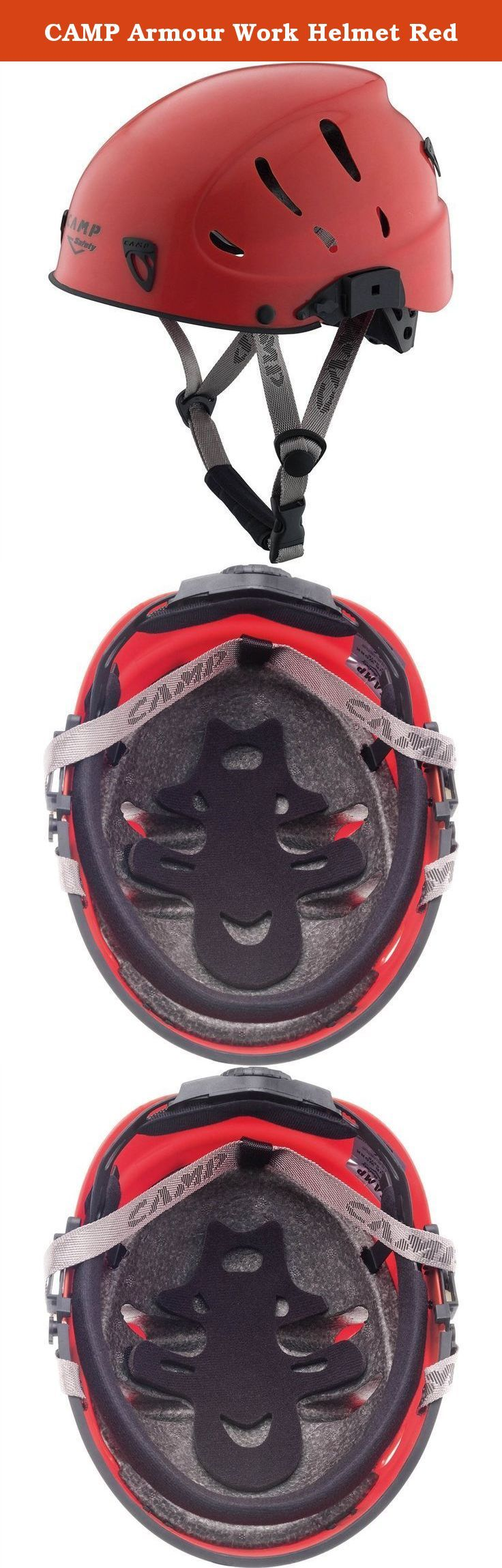 CAMP Armour Work Helmet Red. The Armour Work is an upgraded model of the standard Armour and now includes slots for cap attached ear protectors. Armour Work is a light and comfortable helmet with an attractive design, now with a proprietary visor option. Designed for Industrial use. Includes mountaineering certification which meets the new regulations for work at heights, for applications where the chin strap must not be releasable and the helmet can withstand multiple blows from various...