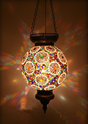 The mix of colours works well here turkish style mosaic lighting