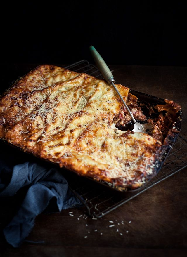 fresh pasta beef lasagne with chargrilled zucchini and pancetta / what katie ate