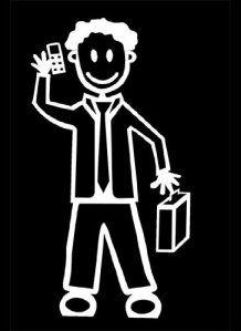 My Stick Figure Family sticker Famille autocollant voiture homme téléphone mobile et mallette M10