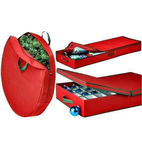Set Of Wreath Xmas Tree & Ornaments Storage Bags 3Pc Red Organize Containers  #HoneyCanDo