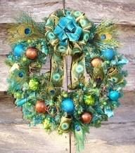 Peacock Christmas Wreath: Christmas Wreaths, Peacock Feathers, Peacock Wreaths, Animal Prints, Christmas Decor, Wreaths Ideas, Bright Colors, Christmas Ornament, Peacock Christmas