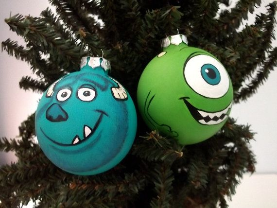Monsters Inc University Painted Holiday Christmas Ornaments Gift Set of 2 Pixar