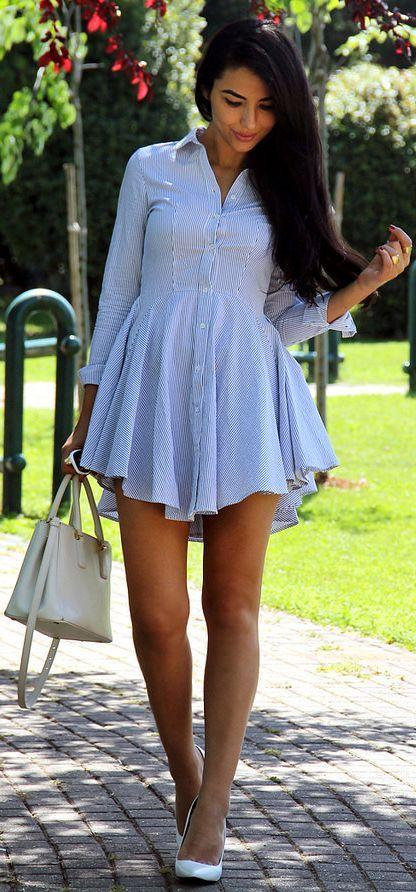 H&M Blue Pinstripe Shirt Dress.: