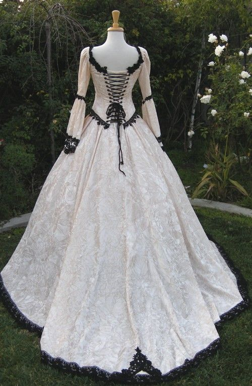 Gothic renaissance fairy medieval wedding gown custom for Black and white wedding dresses with sleeves