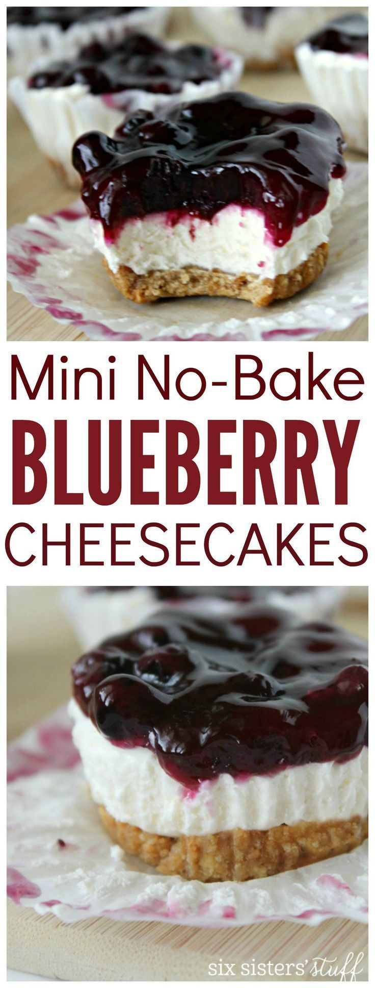 Mini No Bake Blueberry Cheesecakes from http://SixSistersStuff.com | This creamy, personal size dessert isn't just cute but tastes amazing. A tempting dessert recipe for any holiday or get together.