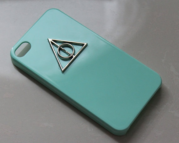 Harry Potter Deathly Hallows light green case for IPhone 4/4S case. $7.60, via Etsy.