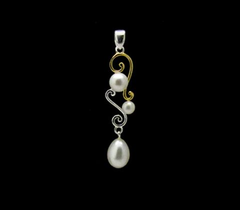 l l Pearl Highlight Renaissance Pendant l l  Sterling silver, 8-14ct gold heavy plating and white cultured freshwater pearl Renaissance pendant. Drop is approx 55mm in total with an approx 9.5-10mm feature pearl. Matching ring, earrings and bangle available.
