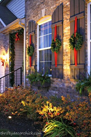 Christmas wreaths on shutters