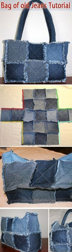Bag of old jeans tutorial. http://www.handmadiya.com/2015/08/bag-of-old-jeans-tutorial.html