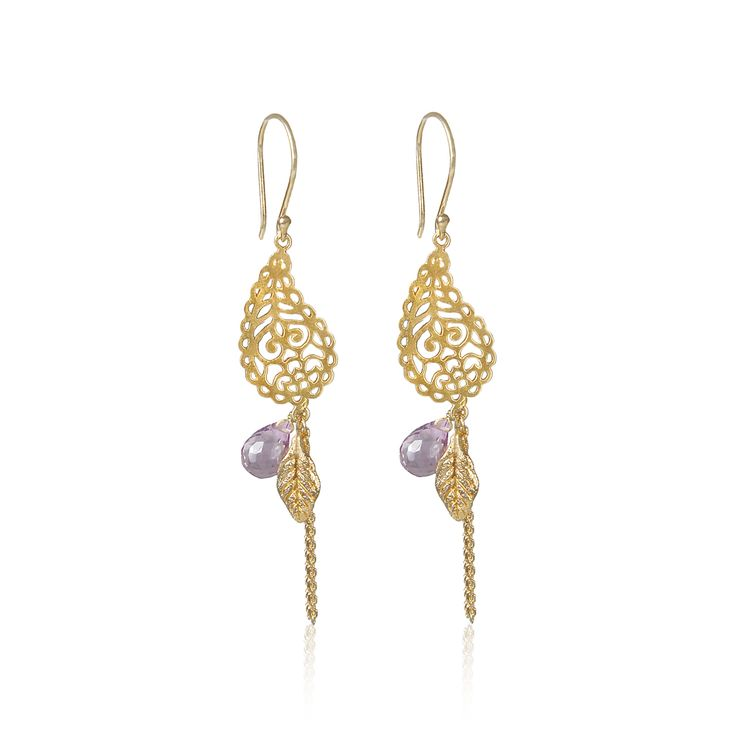 In Love with Life Gold Earrings with faceted amethyst semi precious gemstone. £62 from The Nordic Angel Lifestyle.
