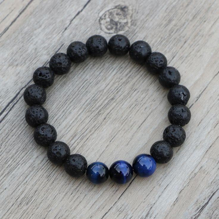 Men's Lava Stone & Blue Tiger Eye Beads Yoga Bracelet //Price: $7.99 & FREE Shipping //     http://histrends.com/mens-lava-stone-blue-tiger-eye-beads-yoga-bracelet/    #mensstyle