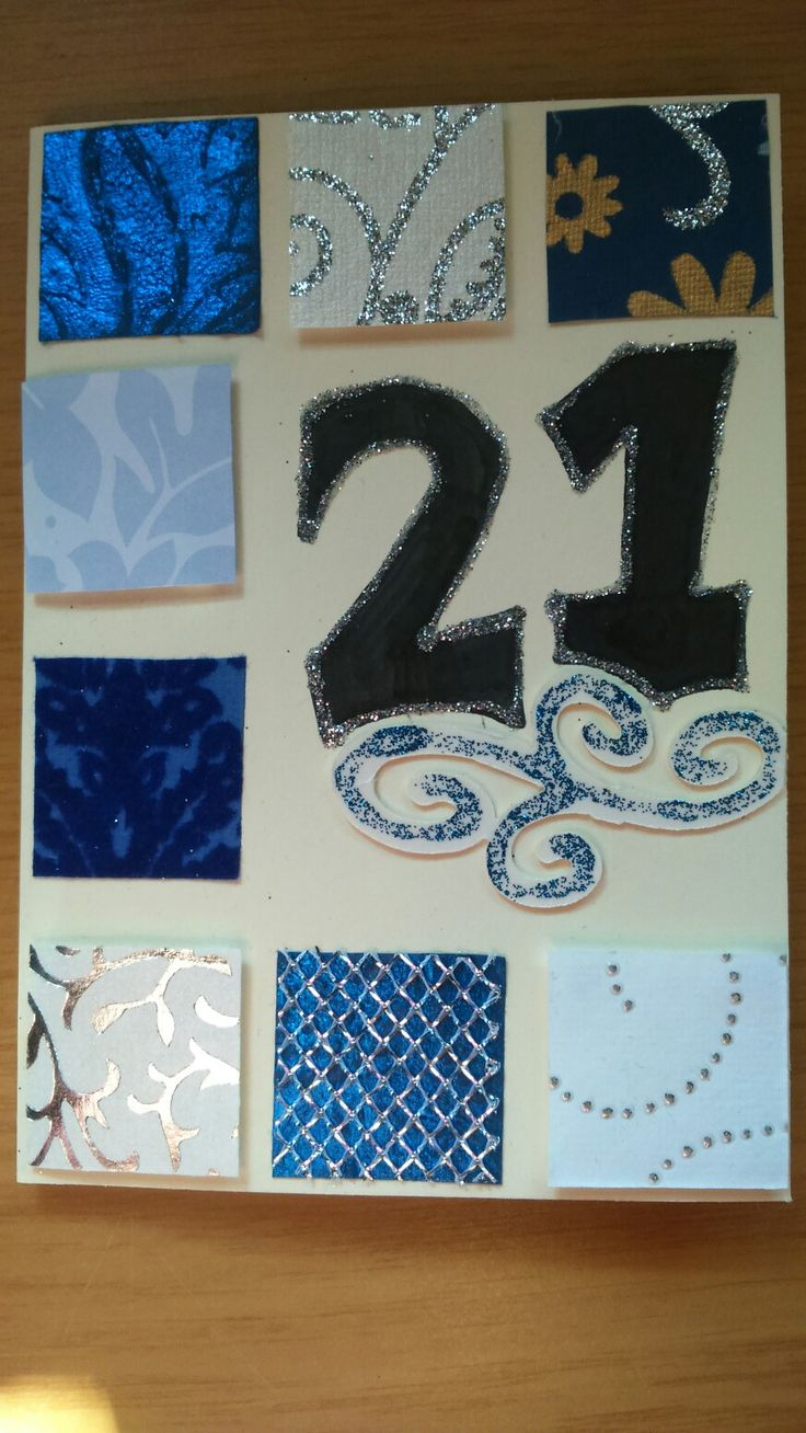 Blue and silver 21st card