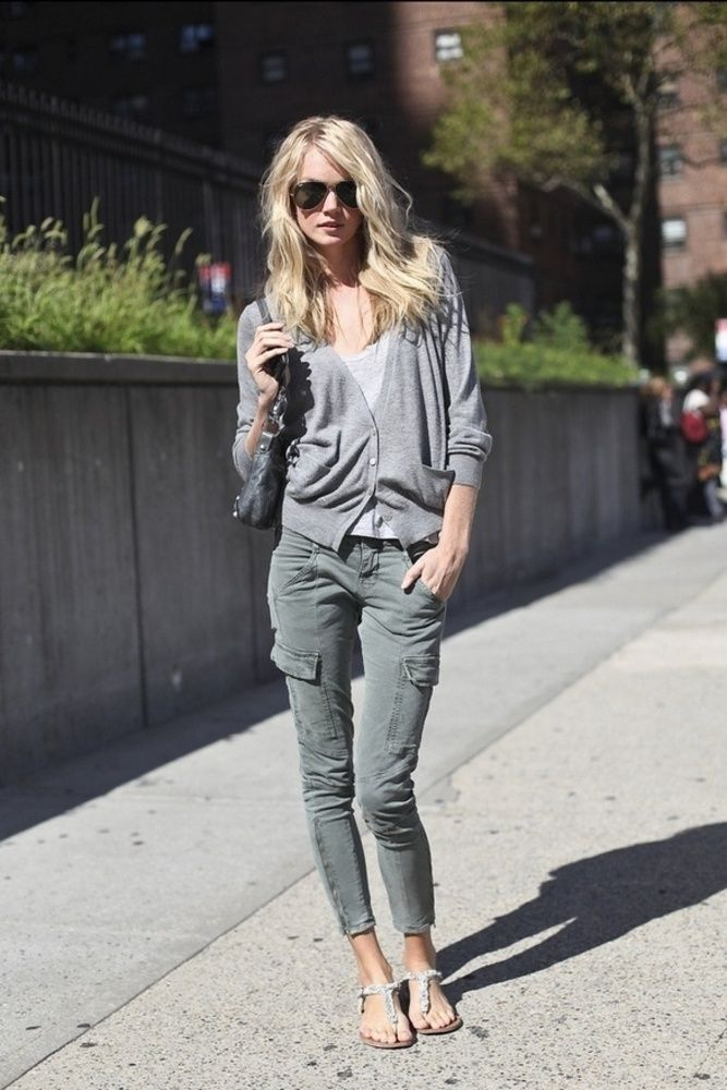 Cardigan & Cargo Pants: Fashion, Cargo Pants, Street Style, Cardigan, Outfit, Casual, Skinny Cargo