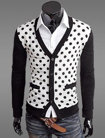 Polka Dot V Neck Sweater Cardigan For Men Fashion Mens Fashion