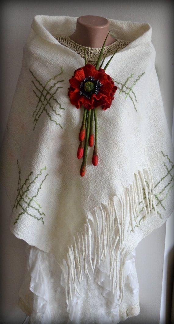 Felted scarf Nuno felted scarf Wool scarf Felted shawl by Gariana