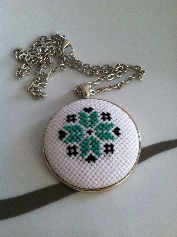 Folk Flower Mint and Black Cross Stitch Necklace by DontBeCross, $15.00