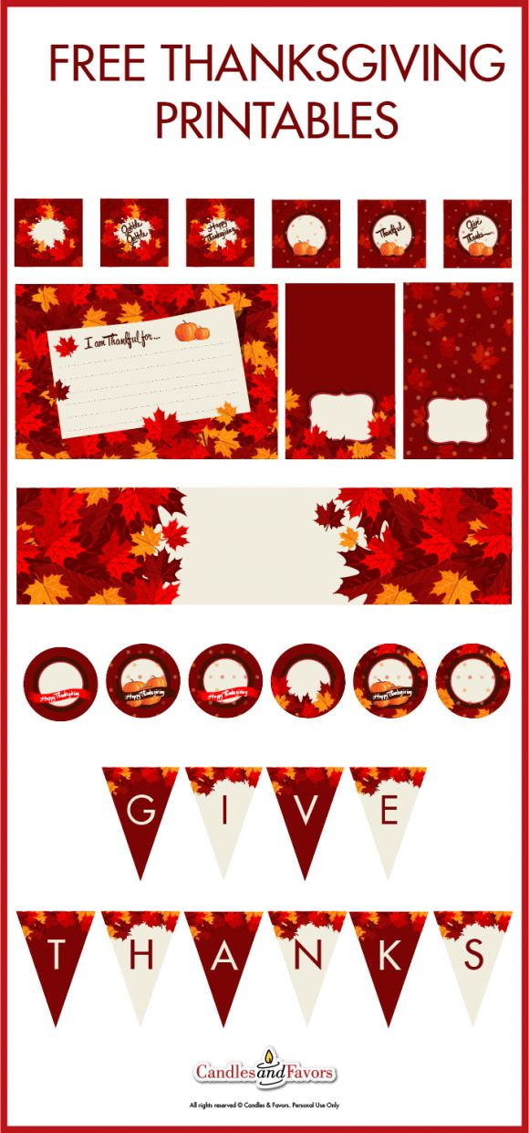 Free Thanksgiving printables with everything you'll need to decorate your Thanksgiving dinner! See more Thanksgiving party ideas at CatchMyParty.com.