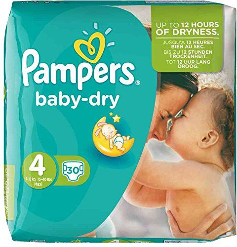 PAMPERS Pack 30 Couches baby-dry Taille 4 Maxi 7-18 kg: Pampers - 4015400696155 Pampers Couches baby-dry taille 4 Maxi, 7-18 kg, pack…