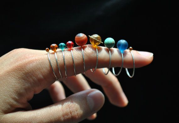 solar system ring set planets stacking rings by jamincjewelry
