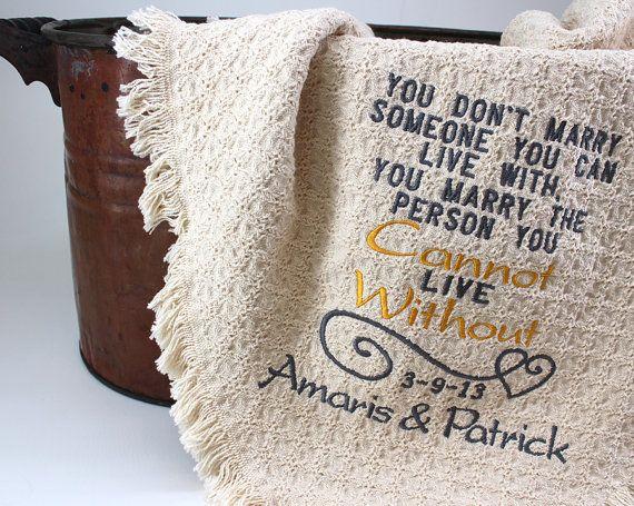 2nd Anniversary Cotton Gift Personalized by PersonalStitchGifts