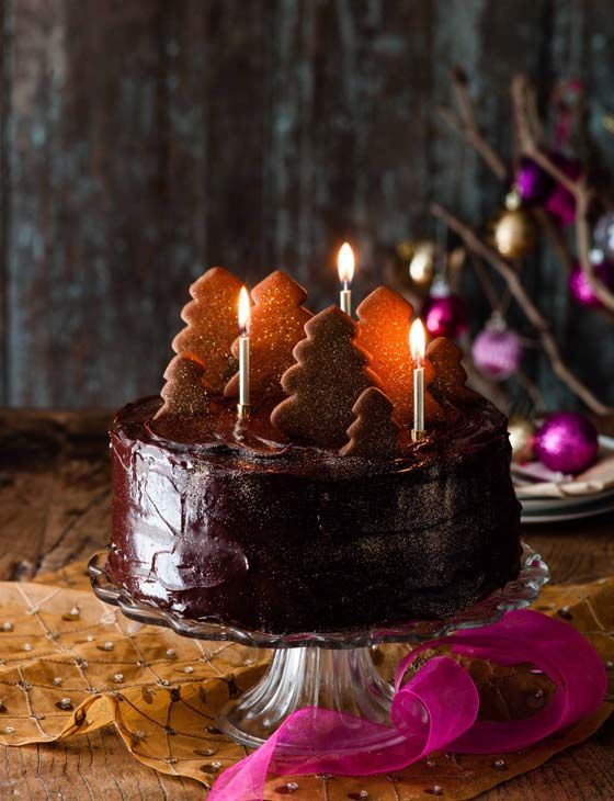 Double fudgey chocolate cake with a gingerbread forest