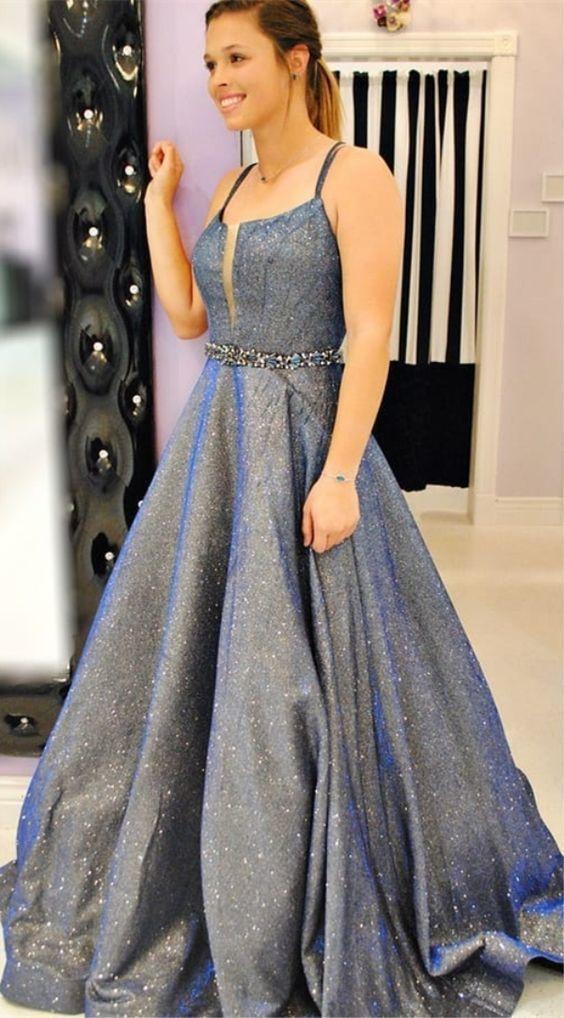 61a68d83ea3 A-Line Spaghetti Straps Floor-Length Grey Metallic Satin Prom Dress with  Beading