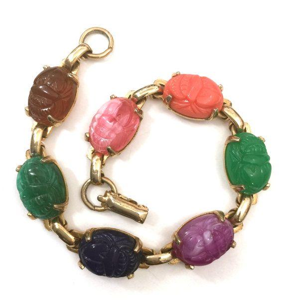 Coro Faux Scarab Bracelet Multi-Color Faux by Vintageimagine #vintage #jewelry #teamlove