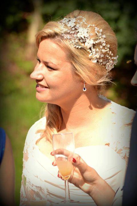 Beautiful Christina wearing her Hermione Harbutt May Blossom Headdress.