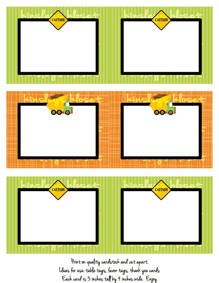 Printable Party Favor Tags/Labels/Food Table Labels - Construction Party Favor Tags/Labels - Dump truck Construction Party Printables. $6.50, via Etsy.