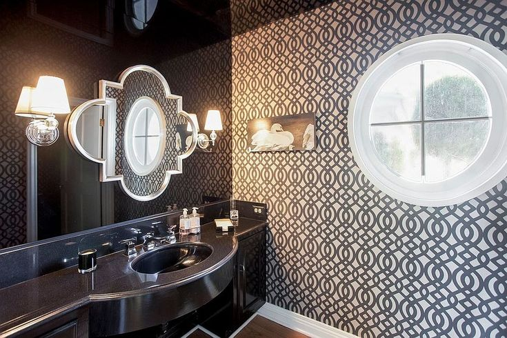 Pompadour Wallpapers Du Barry From Osborne and Little for the contemporary powder room [Design: Lisa Vail Design]