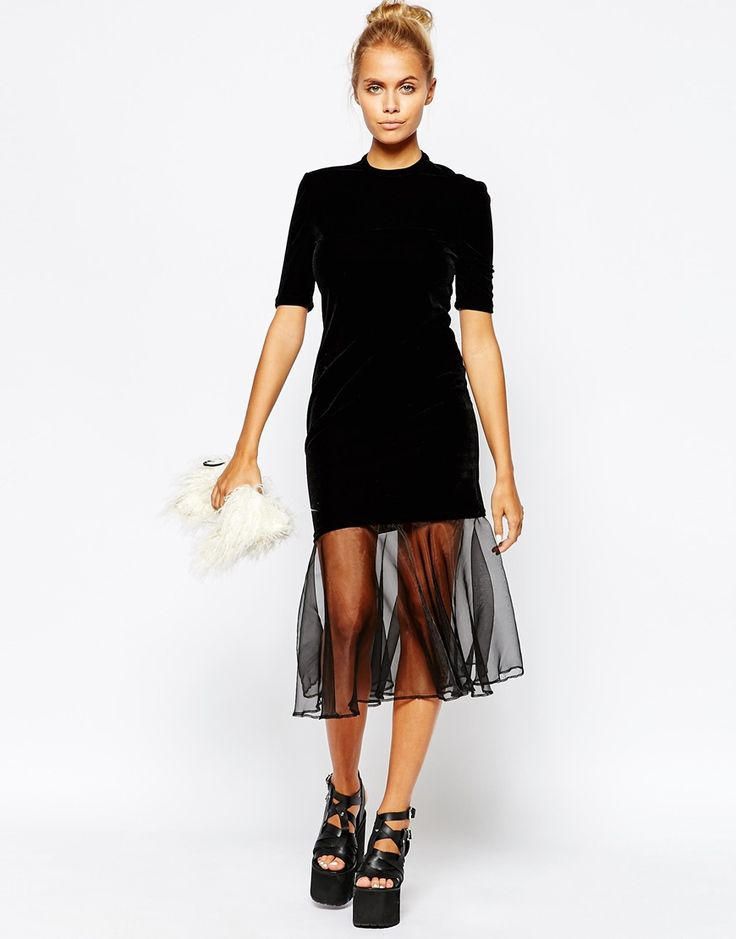 Image 1 of The Ragged Priest High Neck Velvet Holidays Party Dress With Tutu Skirt