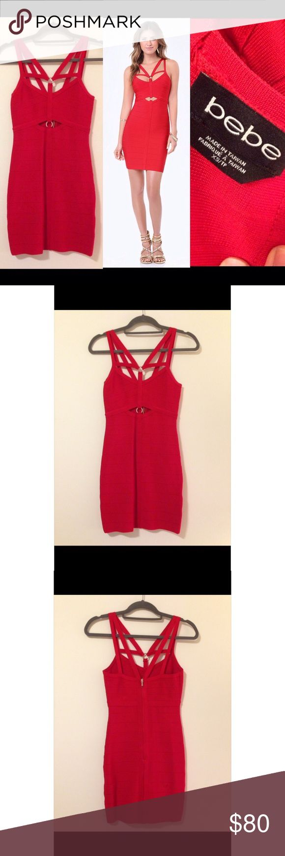 BEBE 💃 Red Bandage Dress Mini Size 4 Worn once! Worn once for a Broadway Opening. It is in perfect condition. Very sexy! Size Extra Small. I'm a size 5/6 usually and it stretched to hug every curve! Definitely a head turner! bebe Dresses Mini