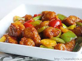 PORK:  Sweet and Sour Pork   Pork can be swapped with chicken, fish or shrimp.