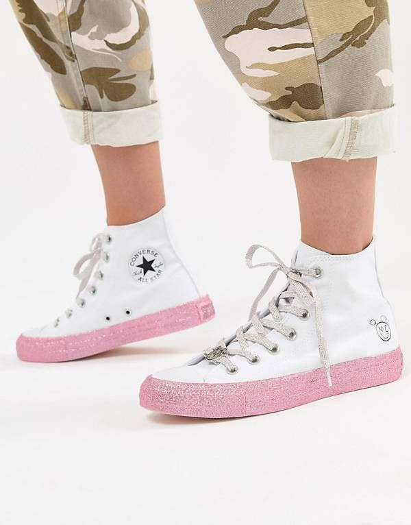66a4e8ce0f5d Converse X Miley Cyrus Chuck Taylor All Star Hi Trainers In White And  Silver Glitter