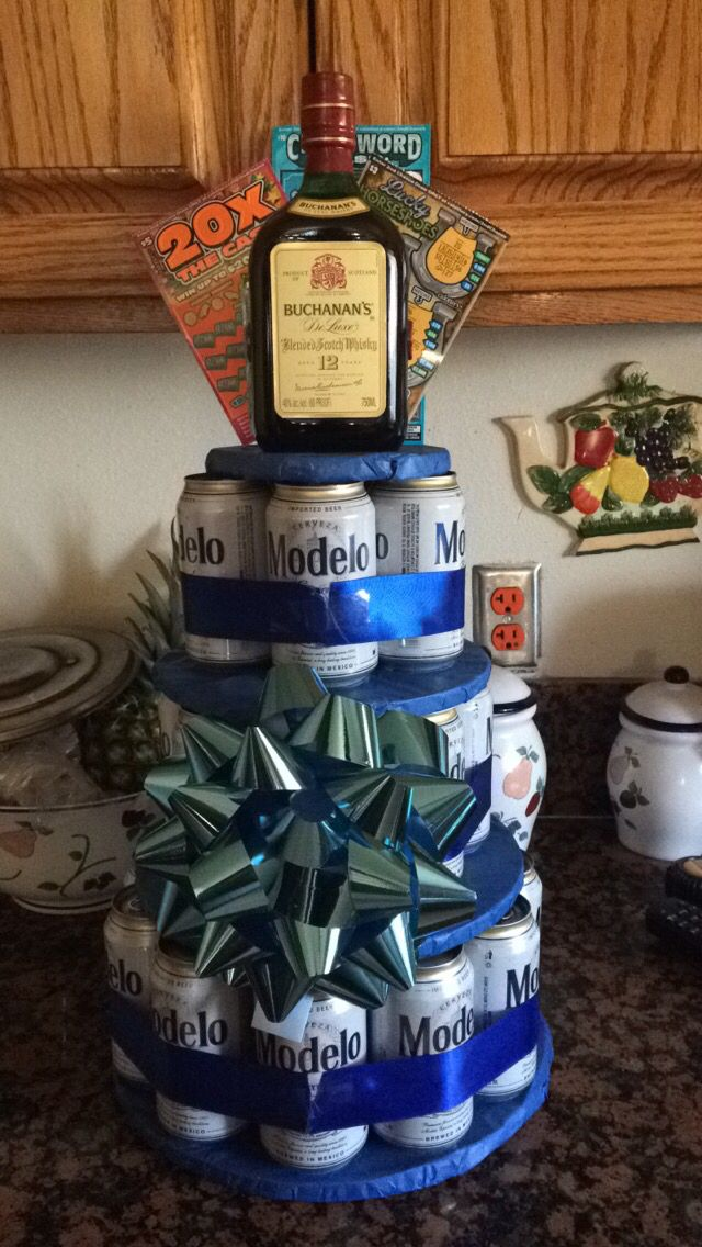 DIY beer cake tower.