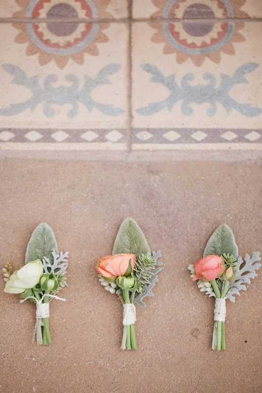 These stunning coral, blush and sea-foam boutonnieres are the inspiration behind the recent changes on Satin and Snowflakes. Come see how we did! http://www.satinandsnowflakes.com/?p=2823