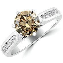 Champagne Brown Diamond Channel Set Engagement Ring
