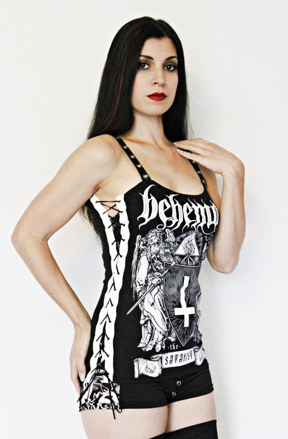 Behemoth Satanist shirt black metal tank lace up top alternative clothing apparel reconstructed rocker clothes altered band tee t-shirt