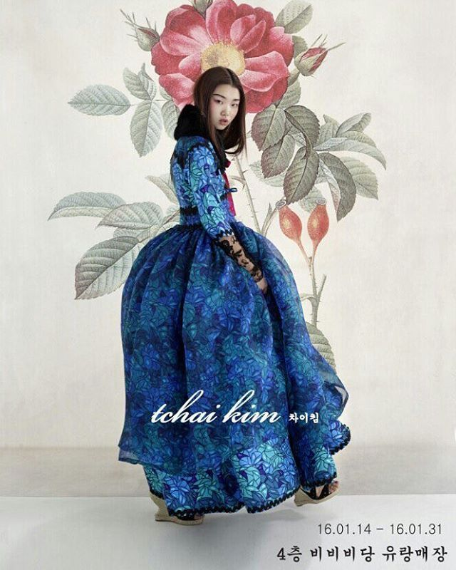 Korea traditional dress 'Hanbok' designer Tchai Kim. She gives me motivations. Amazing! #Hanbok #Asian #Tchaikim #traditional #dress #bluedress #oriental
