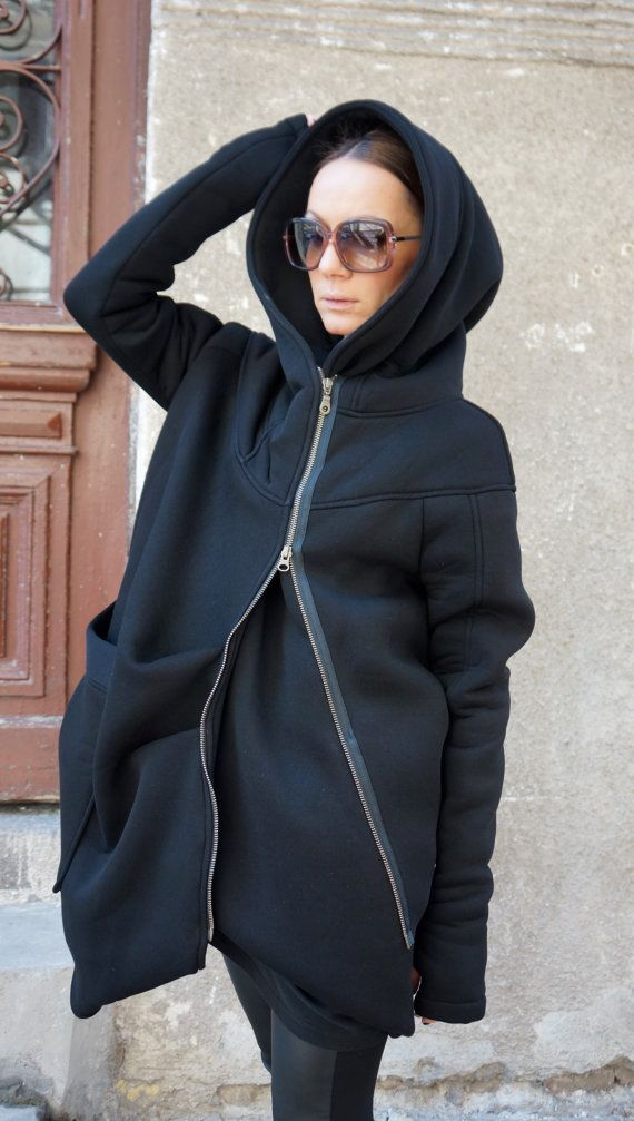 Gorgeous Hooded Black Quilted Coat / Extra Long sleeves Thumb Holes / Cotton Lined Inside Extravagant and Unique Black Asymmetrical Coat With Double