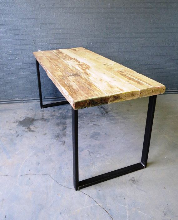 This our new custom desk or Bar table We make custom furniture for homes, bars and restaurants  Made from reclaimed timber and steel so this makes
