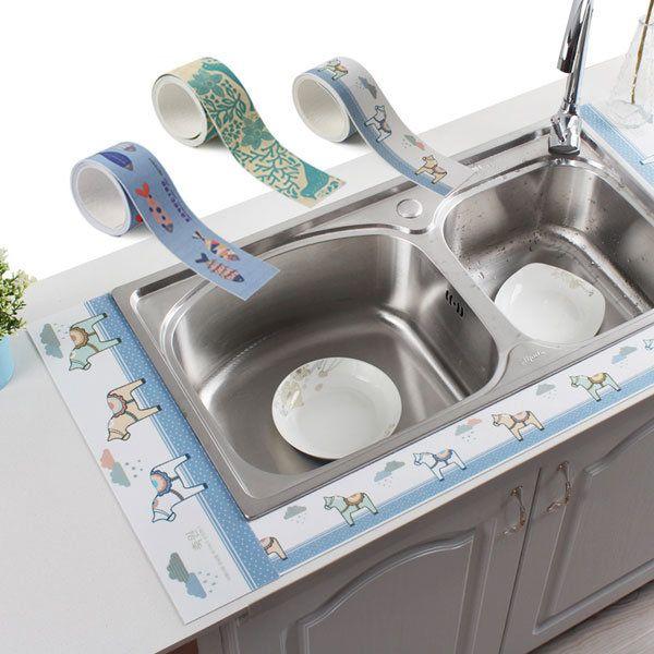 Honana KT-CP9 12*50cm Self-adhesive Sink Waterproof Sticker Bathroom Toilet Basin Absorbent Sticker
