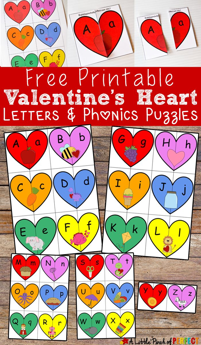 valentines heart letters and phonics puzzles free printable kids will learn uppercase and lowercase letters